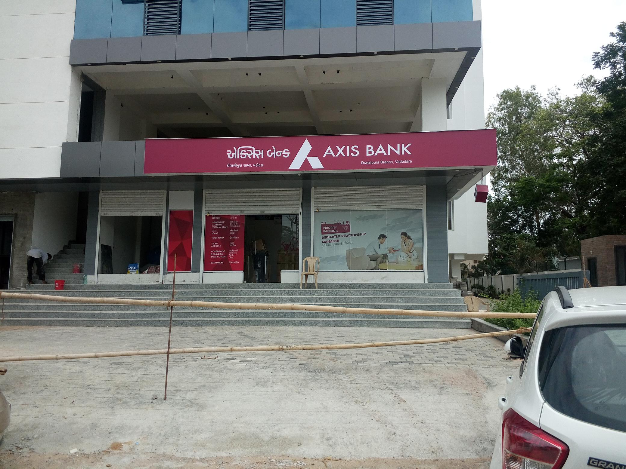 Axis Bank Diwalipura Branch at RK Plaza having 6 steps and inaccessible for all kind of Divyanjan